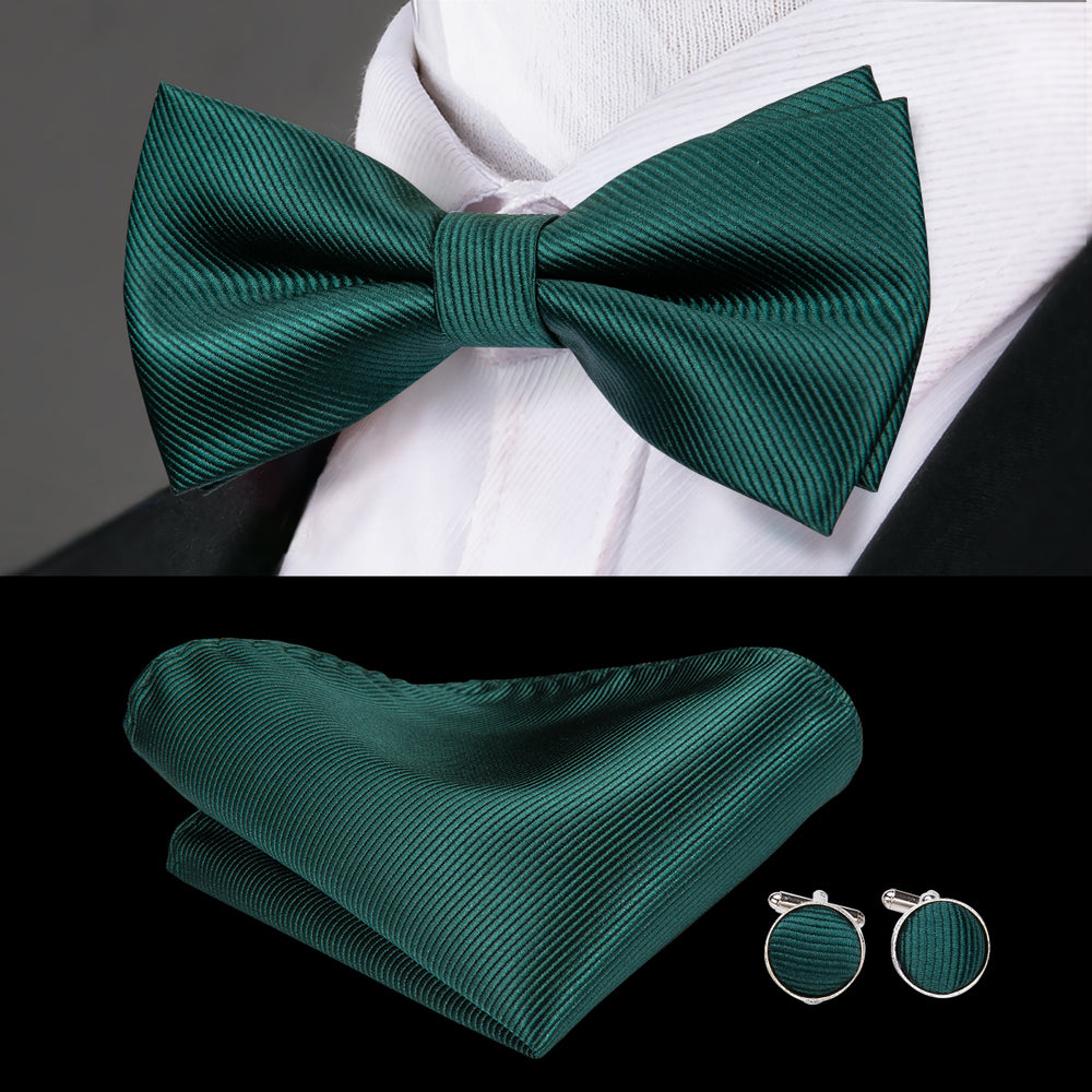 Load image into Gallery viewer, Green Striped Bowtie Pocket Square Cufflinks Set (1925436735530)