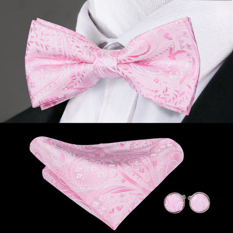 Pink Floral Bowtie Pocket Square Cufflinks Set