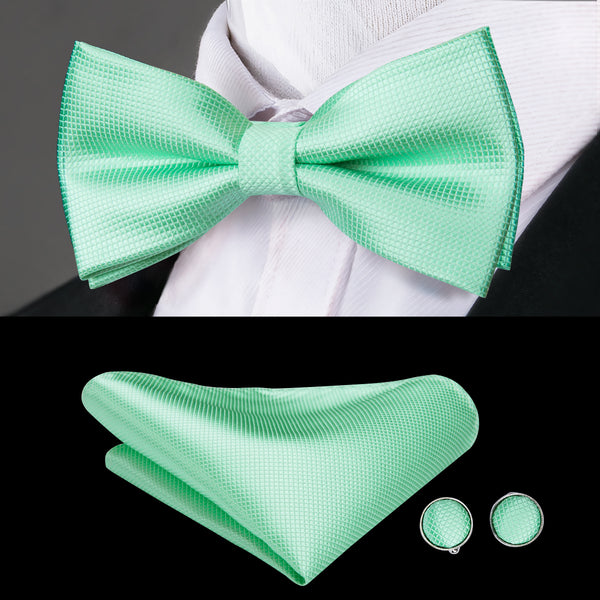 Pale Green Solid Bowtie Pocket Square Cufflinks Set