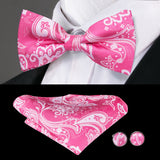 Pink White Paisley  Bowtie Pocket Square Cufflinks Set