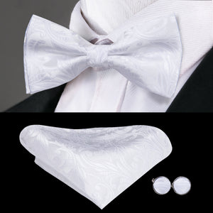 Load image into Gallery viewer, Pure White Paisley Bowtie Pocket Square Cufflinks Set (1925435392042)