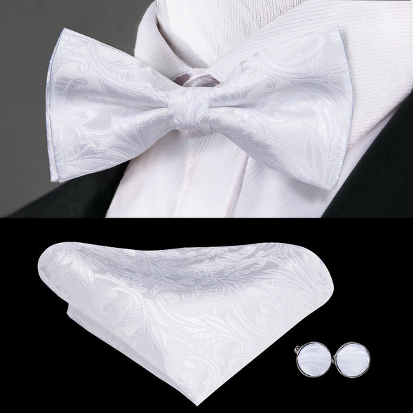 Pure White Paisley Bowtie Pocket Square Cufflinks Set