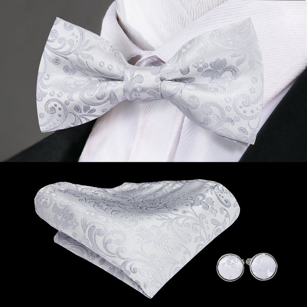 Silver White Paisley Bowtie Pocket Square Cufflinks Set