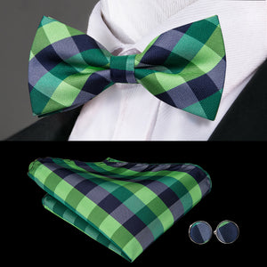 Load image into Gallery viewer, Blue Green Plaid Bowtie Pocket Square Cufflinks Set
