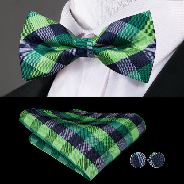 Blue Green Plaid Bowtie Pocket Square Cufflinks Set