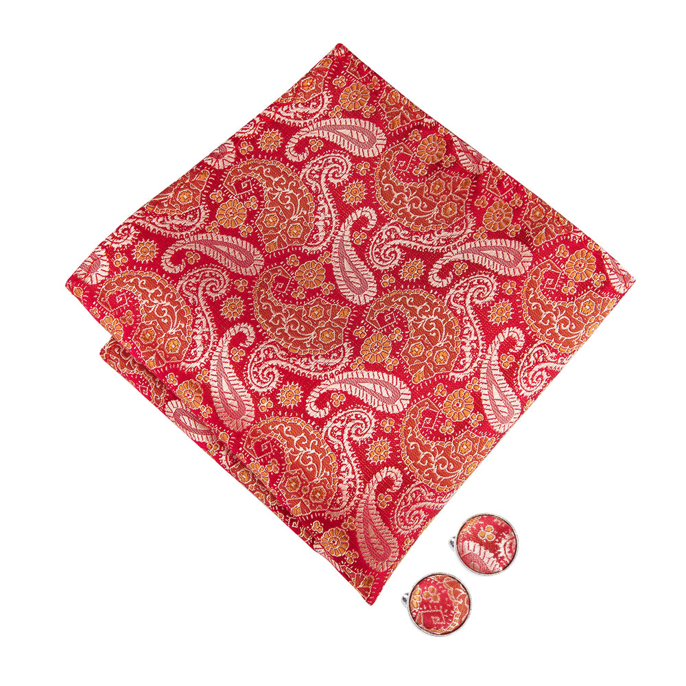 Orange Red Paisley Bowtie Pocket Square Cufflinks Set