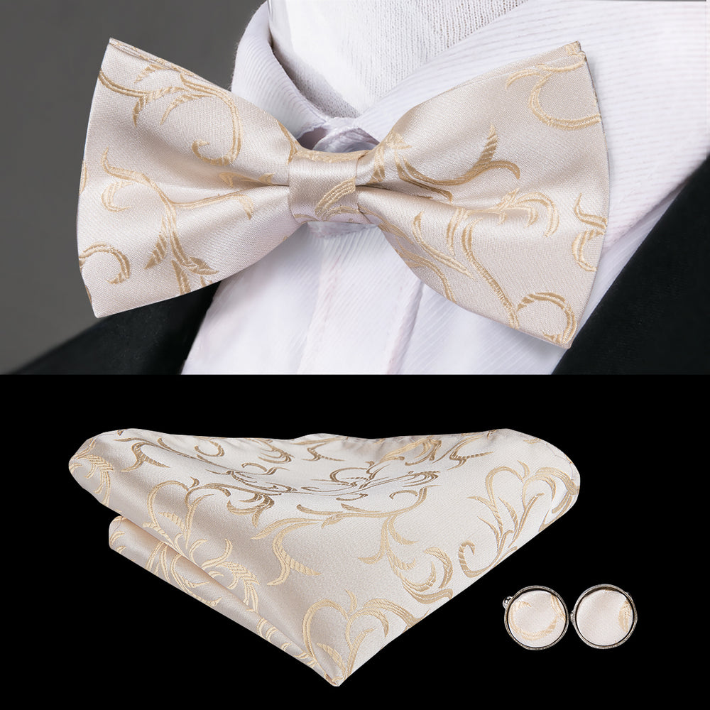 Champagne Yellow Floral Bowtie Pocket Square Cufflinks Set