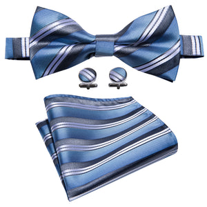 Blue Grey Striped Bowtie Pocket Square Cufflinks Set