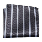 Black White Striped Bowtie Pocket Square Cufflinks Set