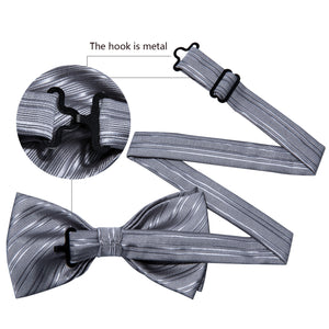 Grey Striped Silk Bowtie Pocket Square Cufflinks Set