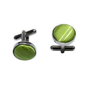 Green Striped Silk Bowtie Pocket Square Cufflinks Set