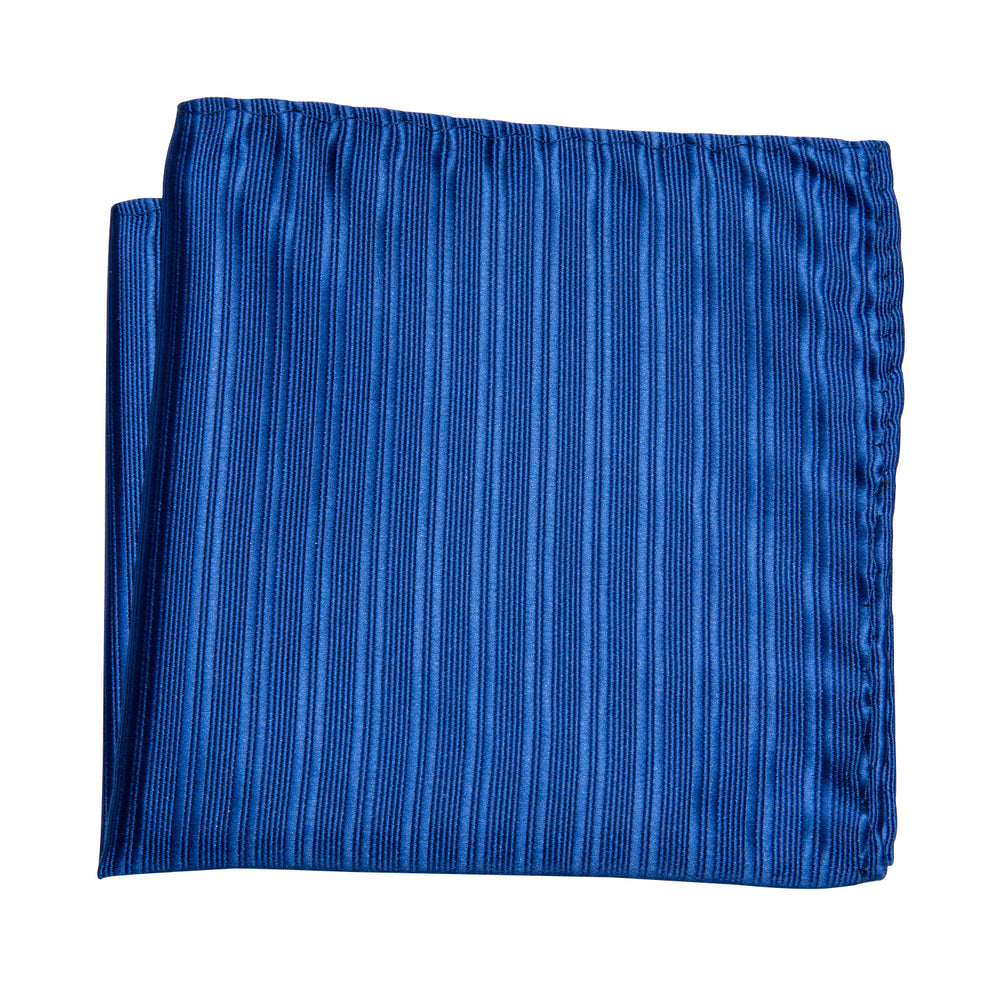Blue Striped Bowtie Pocket Square Cufflinks Set