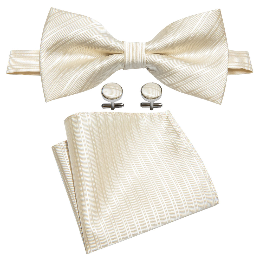 Load image into Gallery viewer, Yellow Grey Striped Bowtie Pocket Square Cufflinks Set