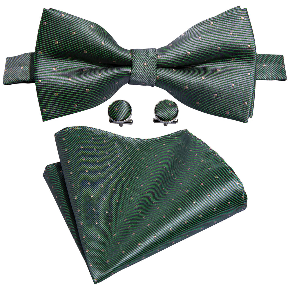 Green Yellow Polka Dot Bowtie Pocket Square Cufflinks Set