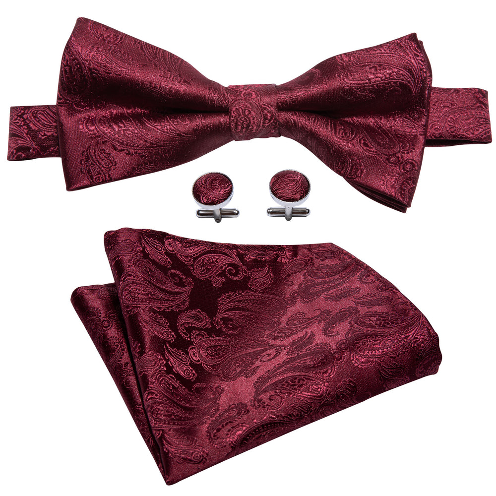 Wine Red Paisley Bowtie Pocket Square Cufflinks Set