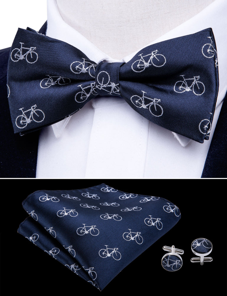 Load image into Gallery viewer, Bike Bule Silk Bowtie Pocket Square Cufflinks Set