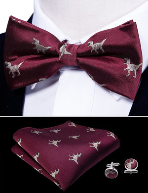 Dark Red Animal Silk Bowtie Pocket Square Cufflinks Set