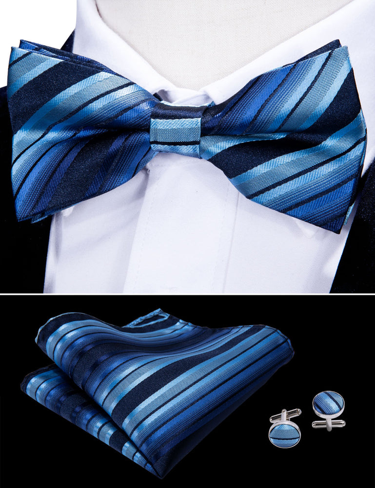 Shinning Blue Striped Silk Bowtie Pocket Square Cufflinks Set (1933763018794)