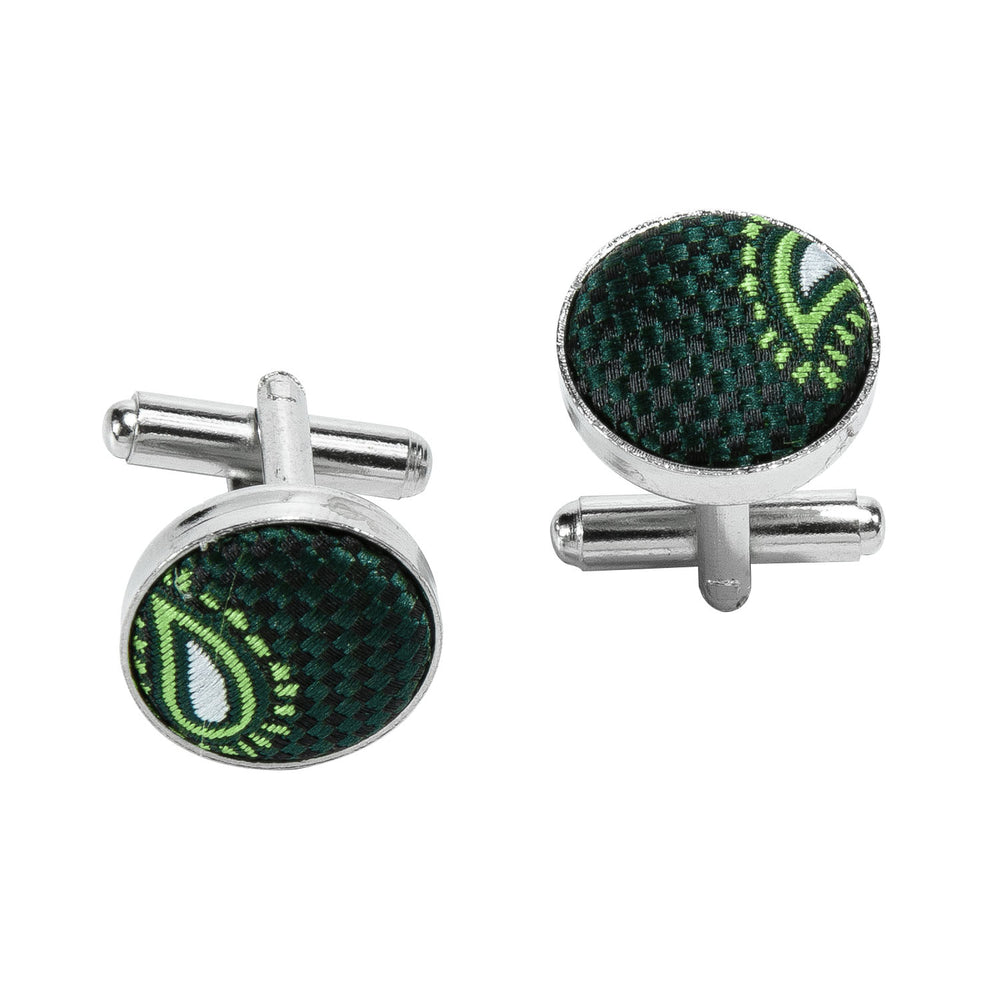 Load image into Gallery viewer, Green Paisley Silk Bowtie Pocket Square Cufflinks Set (1933764132906)