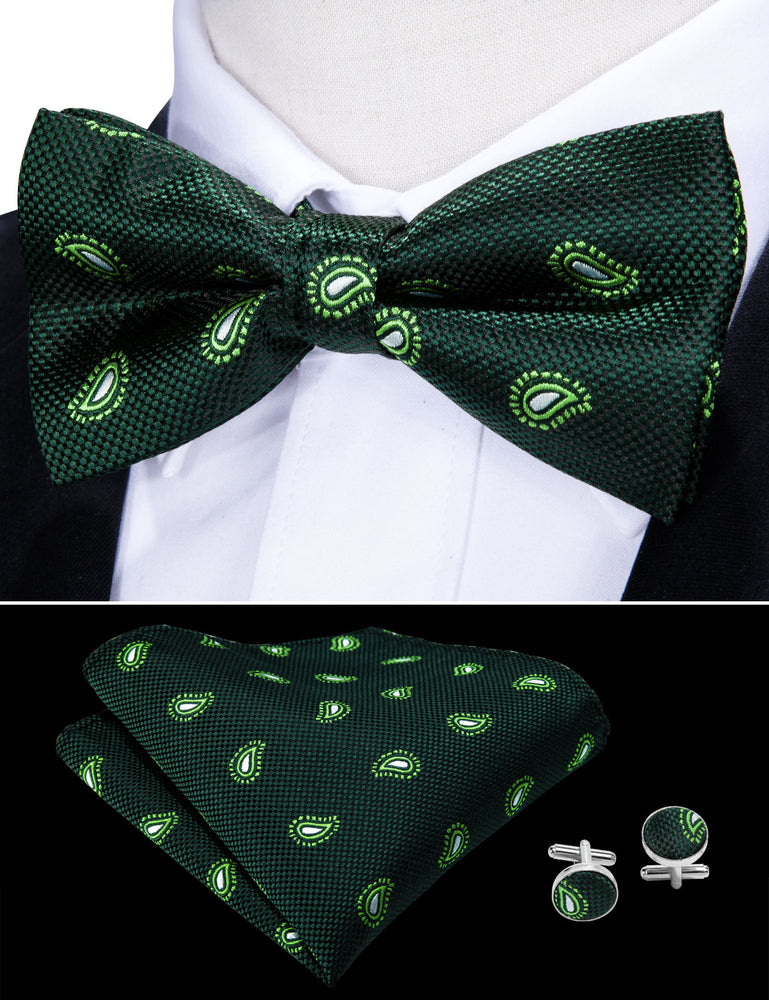 Green Paisley Silk Bowtie Pocket Square Cufflinks Set (1933764132906)