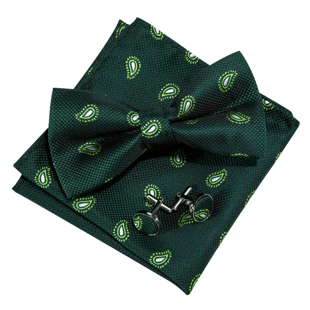 Load image into Gallery viewer, Green Paisley Silk Bowtie Pocket Square Cufflinks Set
