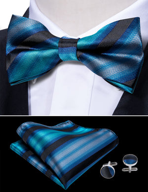 Blue Black Striped Silk Bowtie Pocket Square Cufflinks Set (1933764755498)