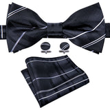 Black Striped Silk Bowtie Pocket Square Cufflinks Set