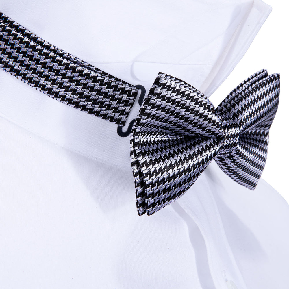 Black White Geometric Silk Bowtie Pocket Square Cufflinks Set (1933769998378)