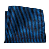 Blue Tooth Geometric Silk Bowtie Pocket Square Cufflinks Set