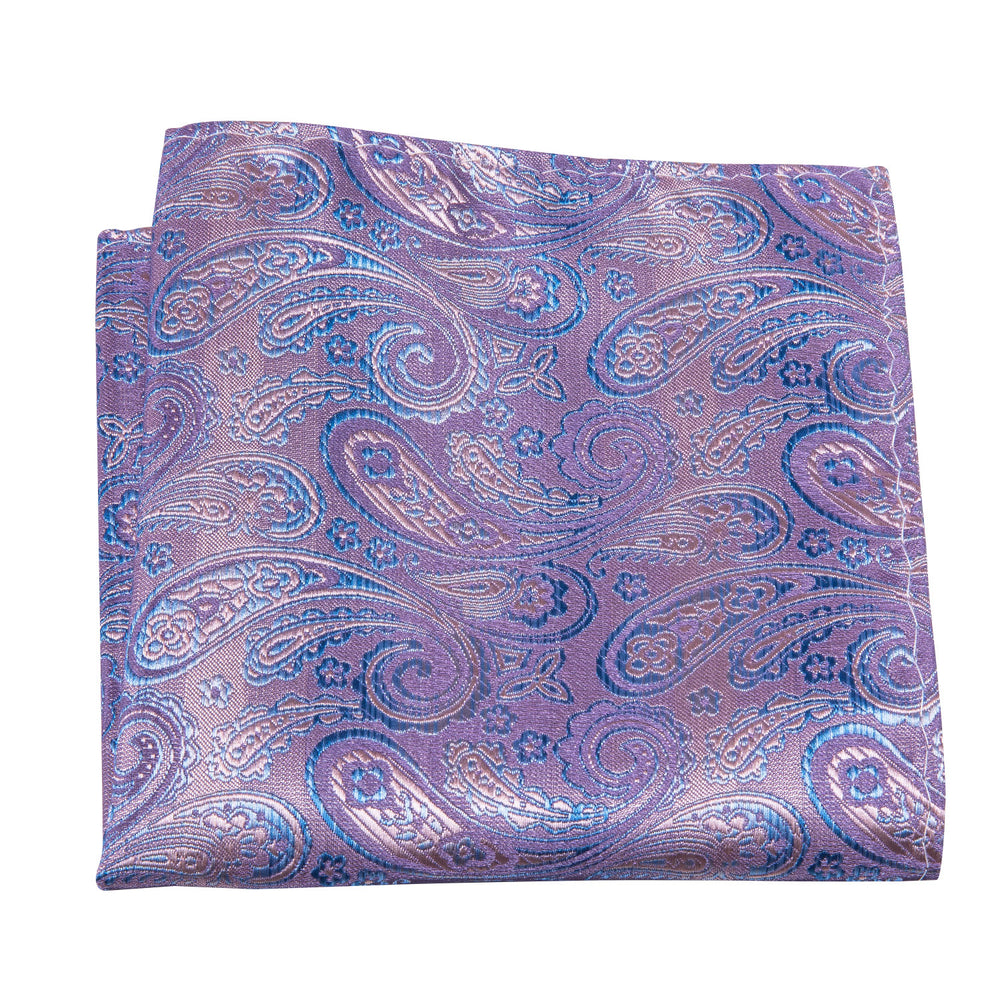 Pink Blue Paisley Silk Bowtie Pocket Square Cufflinks Set (1933772652586)
