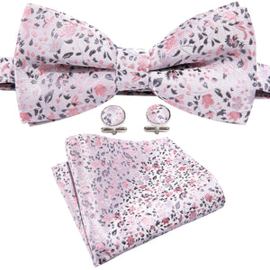 Load image into Gallery viewer, Pink Floral Silk Bowtie Pocket Square Cufflinks Set
