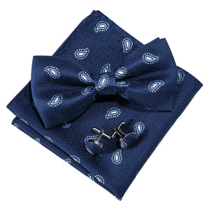 Load image into Gallery viewer, Navy Blue Paisley Silk Bowtie Pocket Square Cufflinks Set