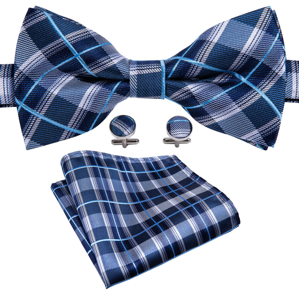 Dark Blue Plaid Silk Bowtie Pocket Square Cufflinks Set (1933777305642)