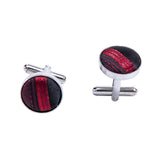 Shining Red Striped Silk Bowtie Pocket Square Cufflinks Set