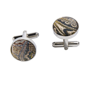 Load image into Gallery viewer, Yellow Brown Paisley Silk Bowtie Pocket Square Cufflinks Set