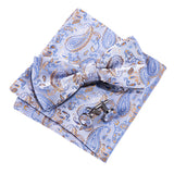 Light Blue Brown Paisley Silk Bowtie Pocket Square Cufflinks Set