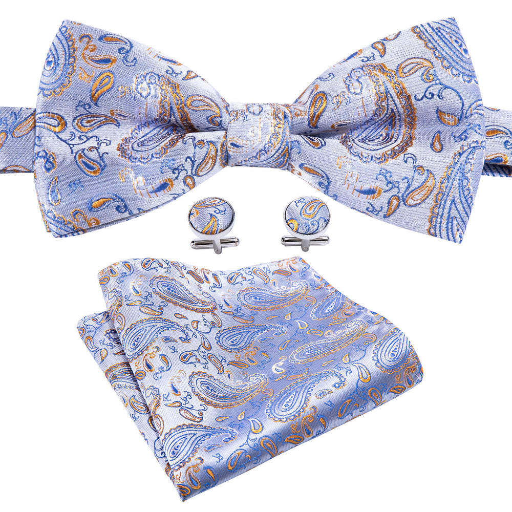 Load image into Gallery viewer, Light Blue Brown Paisley Silk Bowtie Pocket Square Cufflinks Set (1933780254762)