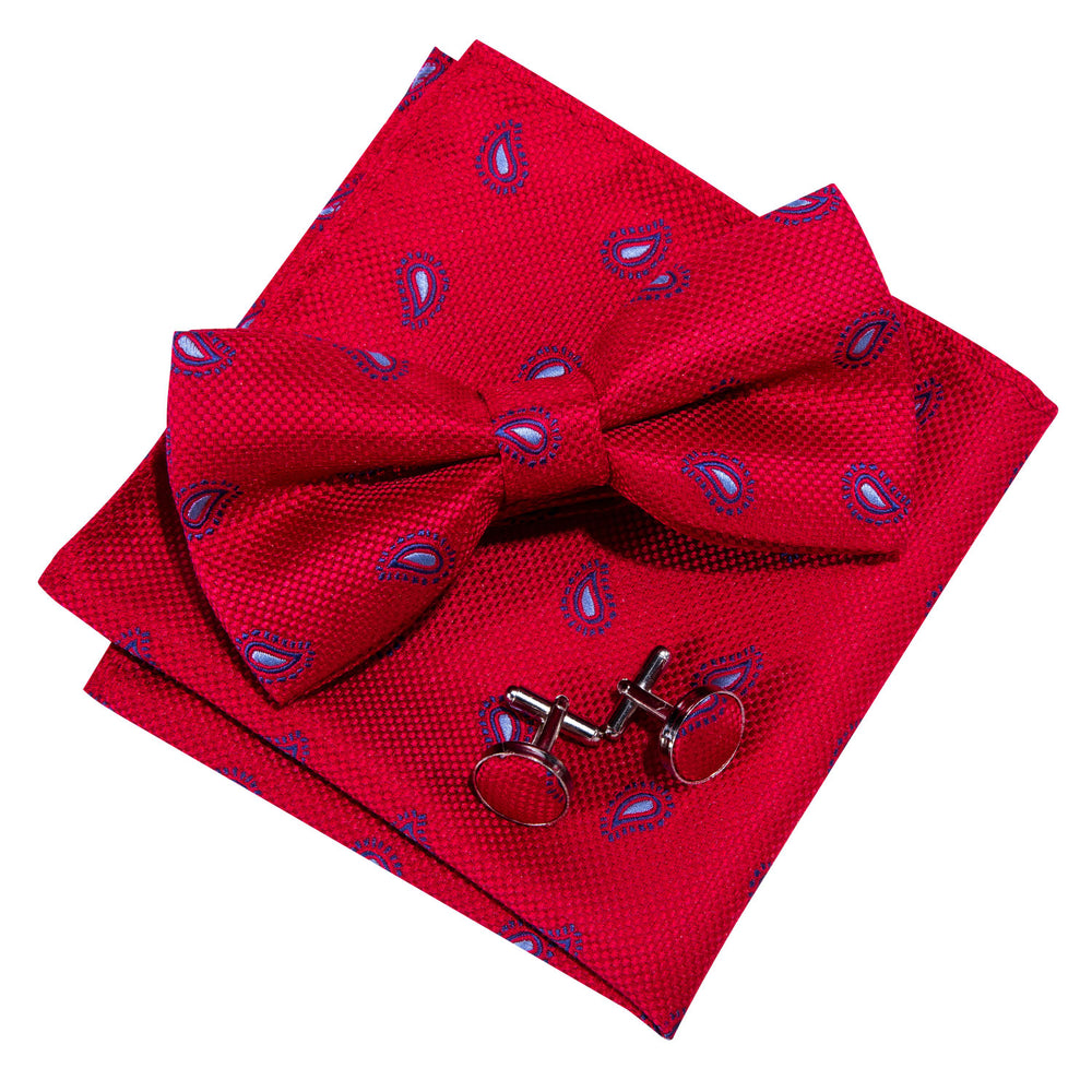 Red Paisley Silk Bowtie Pocket Square Cufflinks Set (1933781663786)