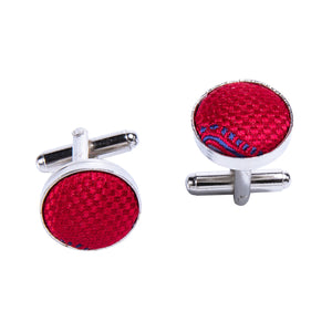 Load image into Gallery viewer, Red Paisley Silk Bowtie Pocket Square Cufflinks Set (1933781663786)