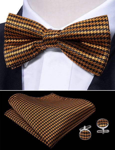 Yellow Double Tooth Striped Silk Bowtie Pocket Square Cufflinks Set