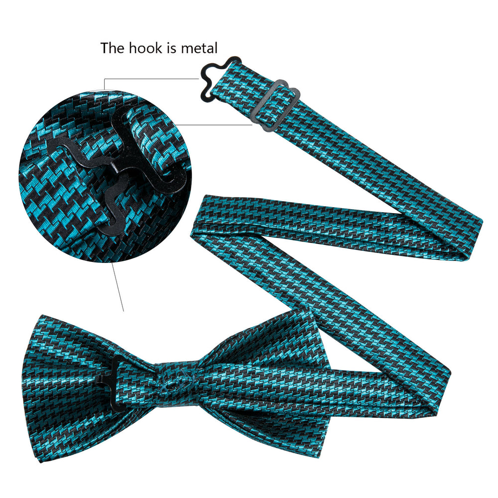 Teal Blue Double Tooth Striped Silk Bowtie Pocket Square Cufflinks Set