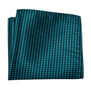 Teal Blue Double Tooth Striped Silk Bowtie Pocket Square Cufflinks Set (1933785104426)