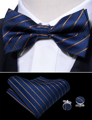 Blue Gold Striped Silk Bowtie Pocket Square Cufflinks Set (1933786578986)