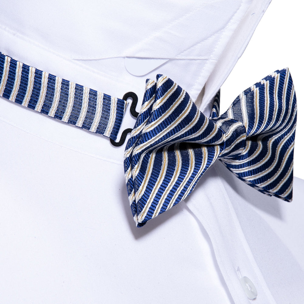 Load image into Gallery viewer, Classic Blue Striped Silk Bowtie Pocket Square Cufflinks Set