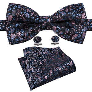 Load image into Gallery viewer, Pink Blue Floral Silk Bowtie Pocket Square Cufflinks Set