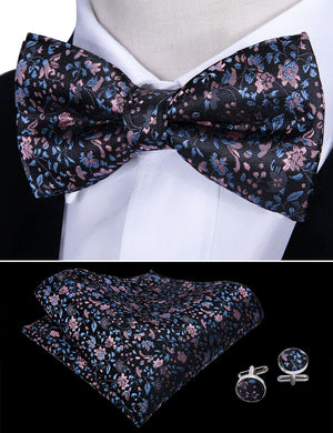 Load image into Gallery viewer, Pink Blue Floral Silk Bowtie Pocket Square Cufflinks Set (1933789495338)