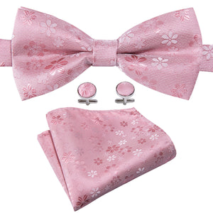 Lovely Pink Floral Silk Bowtie Pocket Square Cufflinks Set (1933790937130)