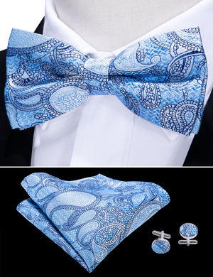 Load image into Gallery viewer, Blue Paisley Silk Bowtie Pocket Square Cufflinks Set
