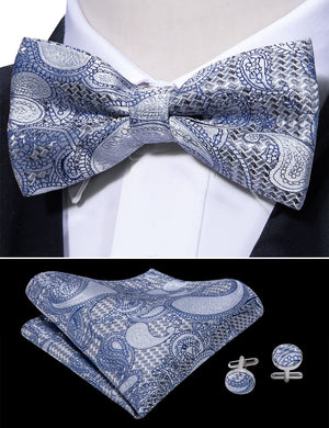 Load image into Gallery viewer, Blue Grey Paisley Silk Bowtie Pocket Square Cufflinks Set (1933793853482)