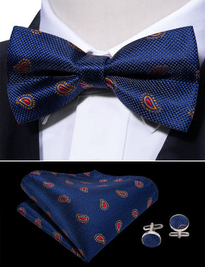 Load image into Gallery viewer, Blue Gold Paisley Silk Bowtie Pocket Square Cufflinks Set